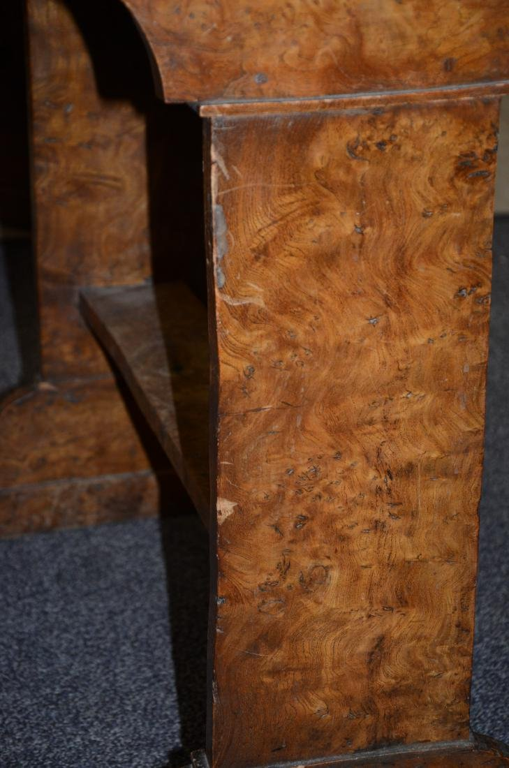 Pr Biedermeier style burl walnut side tables, 19th c, - 4