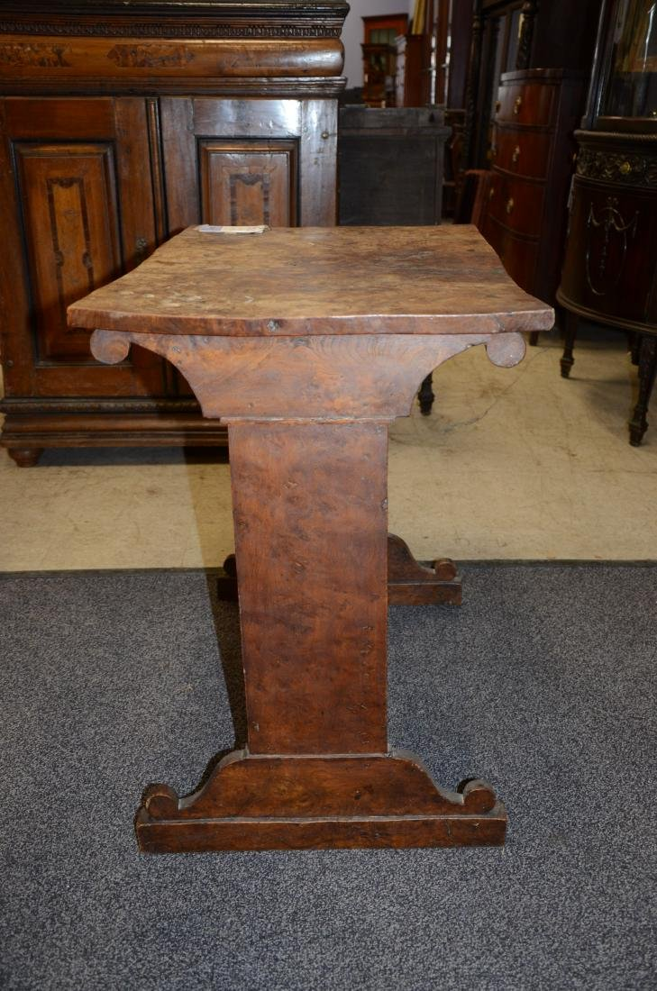 Pr Biedermeier style burl walnut side tables, 19th c, - 8