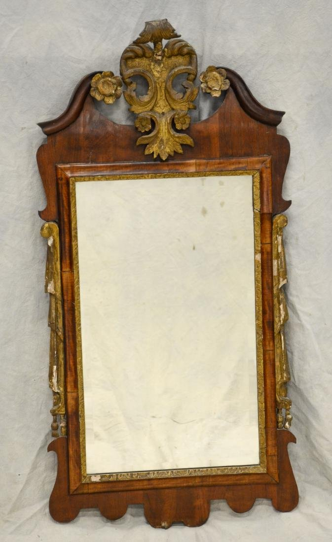 Georgian wall mirror, floral and plume gilt carved c
