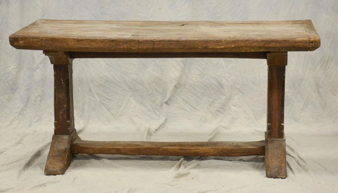 Continental walnut trestle base farm table, 18th c b