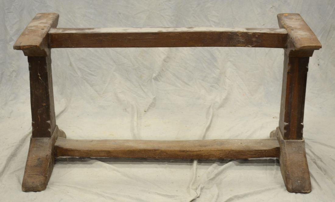 Continental walnut trestle base farm table, 18th c b - 3