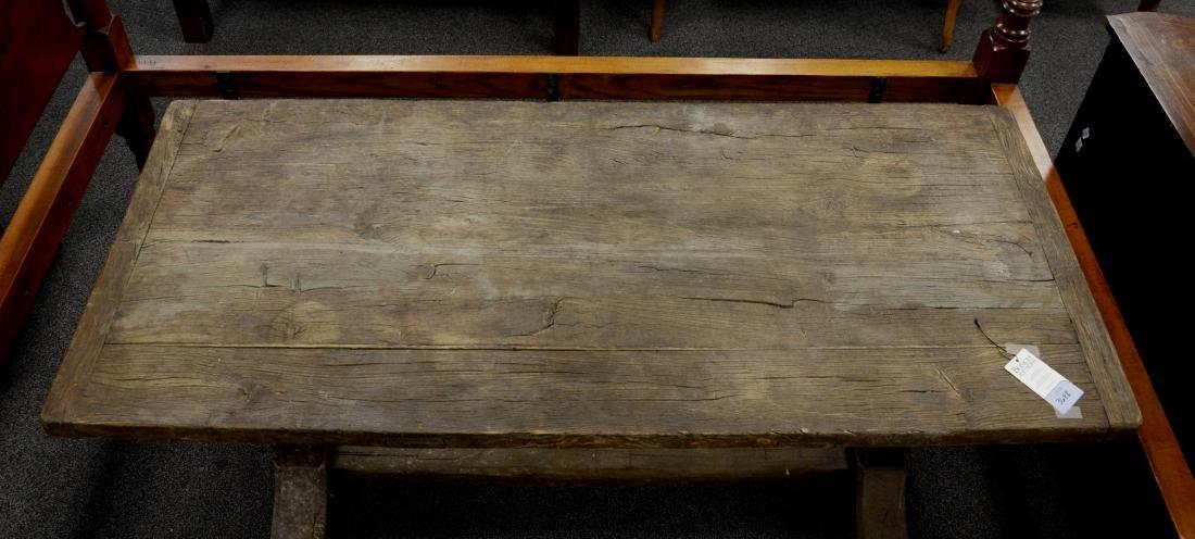 Continental walnut trestle base farm table, 18th c b - 4