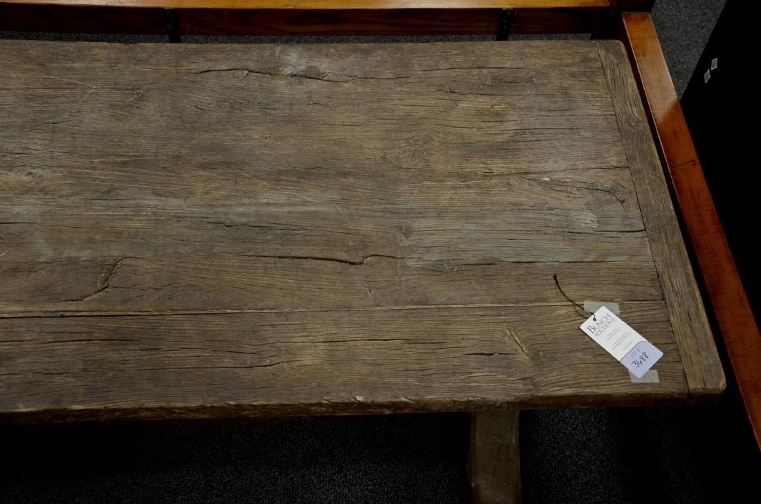 Continental walnut trestle base farm table, 18th c b - 5