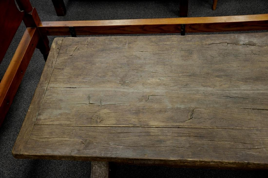 Continental walnut trestle base farm table, 18th c b - 6