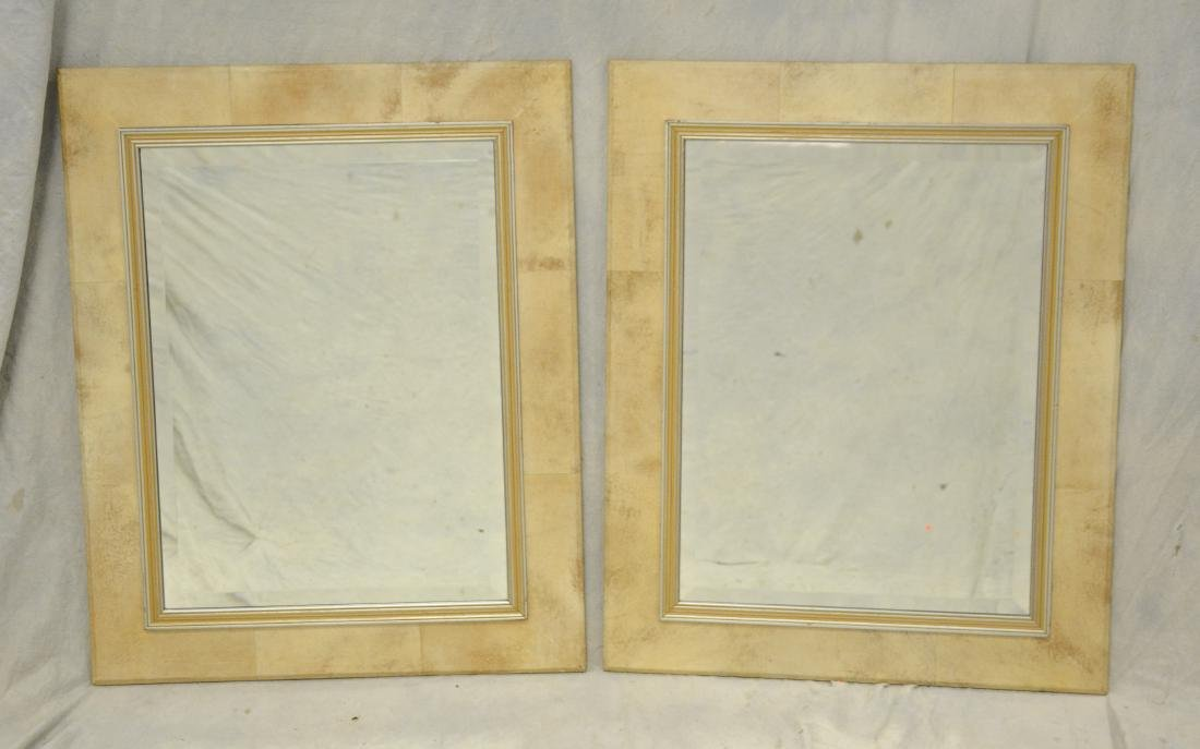 Pair parchment and gilt framed mirrors, 20th c, parc