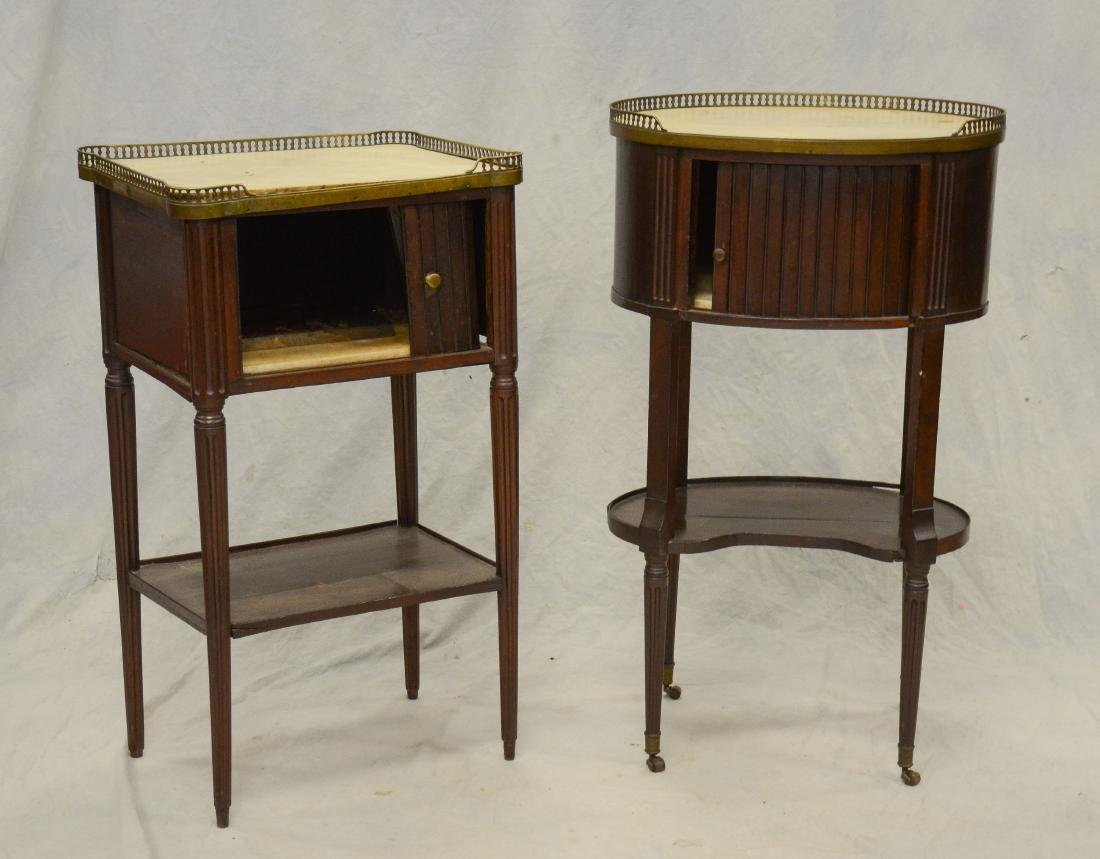 (2) Louis XVI style marbletop 2-tier side tables