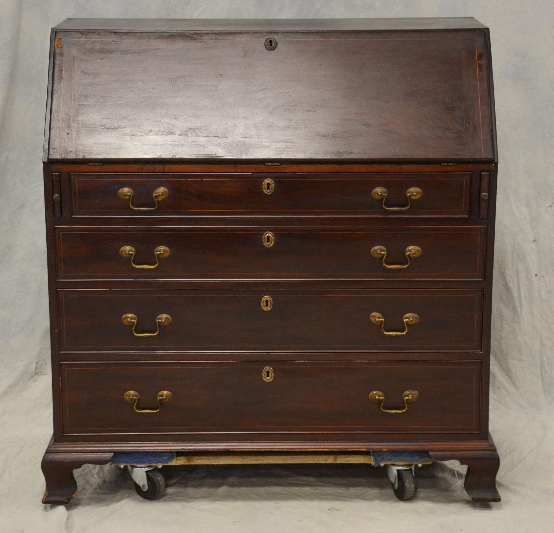 American mahogany Chippendale slant front desk, flat
