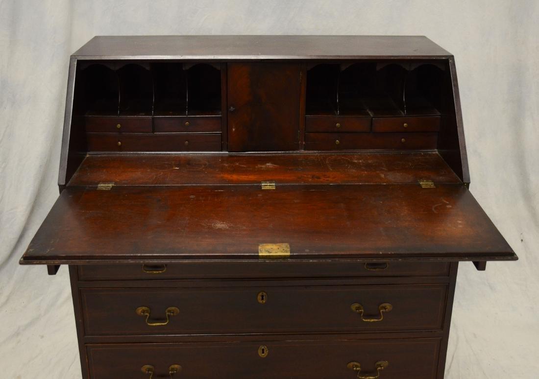 American mahogany Chippendale slant front desk, flat - 5