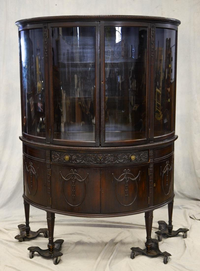 Adams style carved mahogany demilune china cabinet,