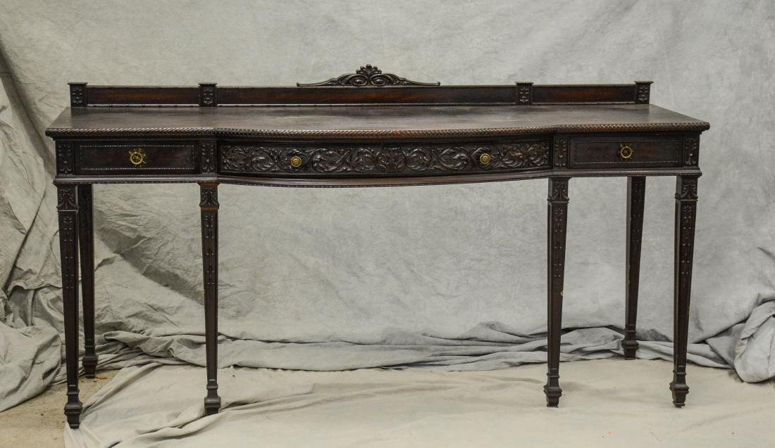 Adams style carved mahogany sideboard, floral swag d