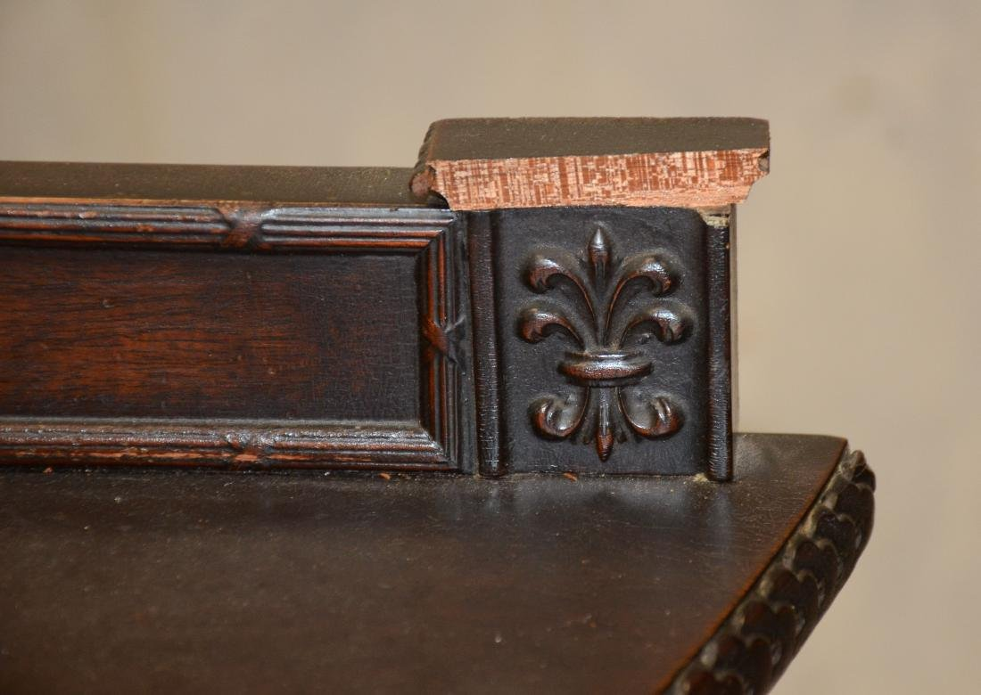 Adams style carved mahogany demilune commode, one dr - 2