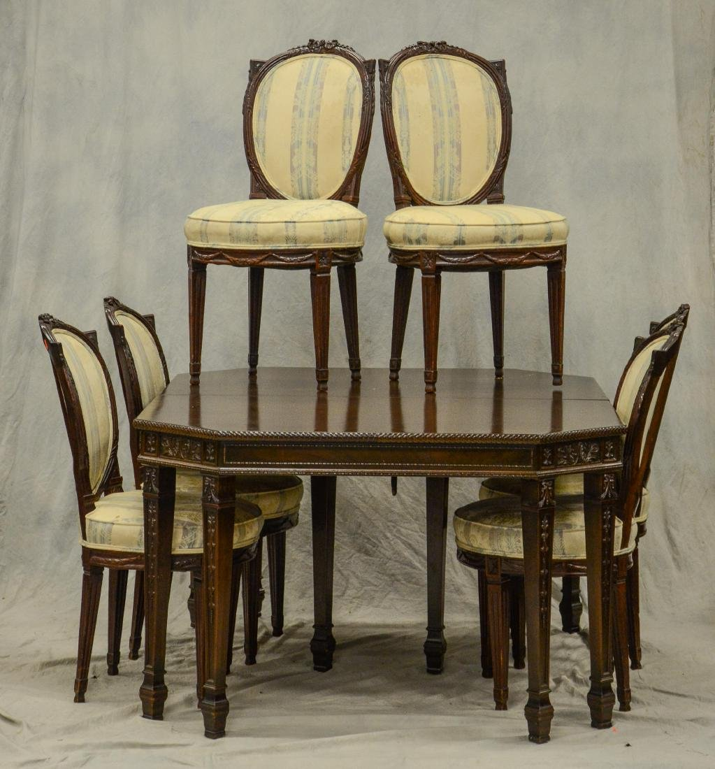 (7) pc Adams style carved mahogany dining room set,