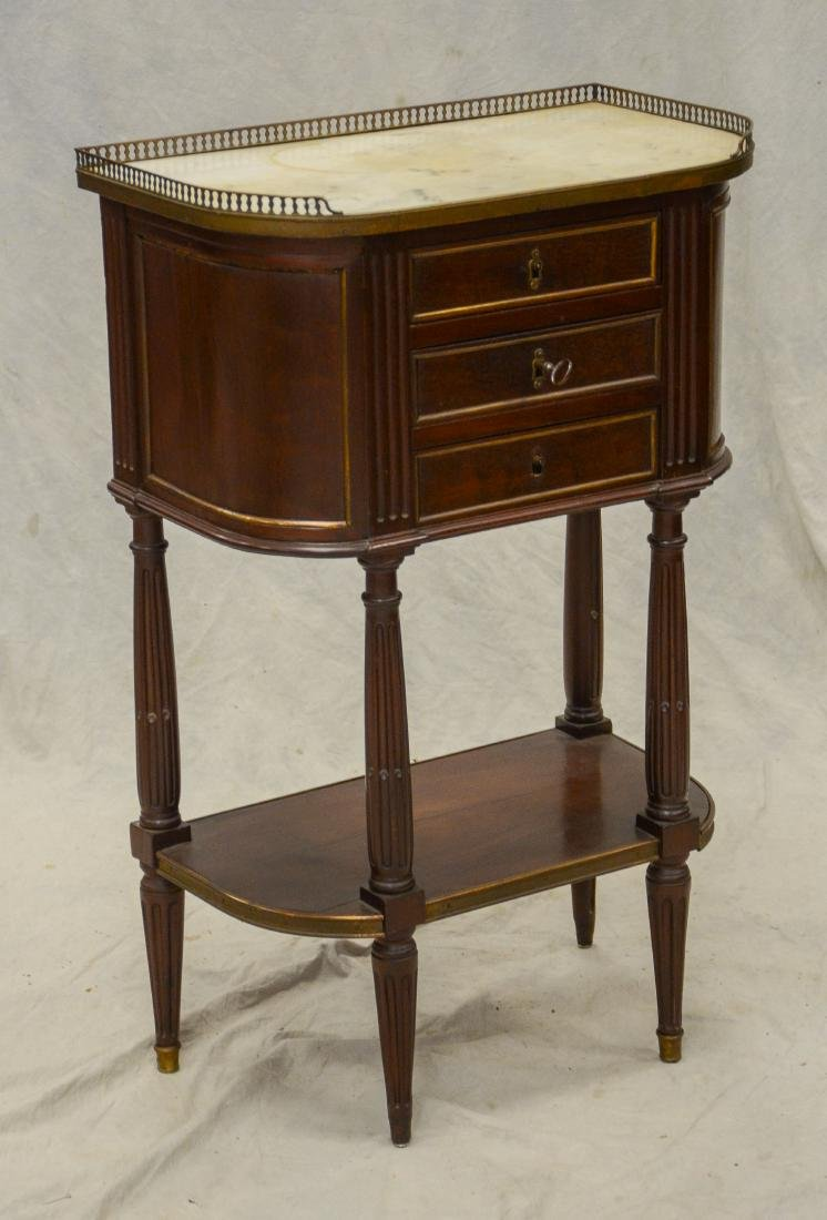 Louis XVI style 3-drawer marble top mahogany side table