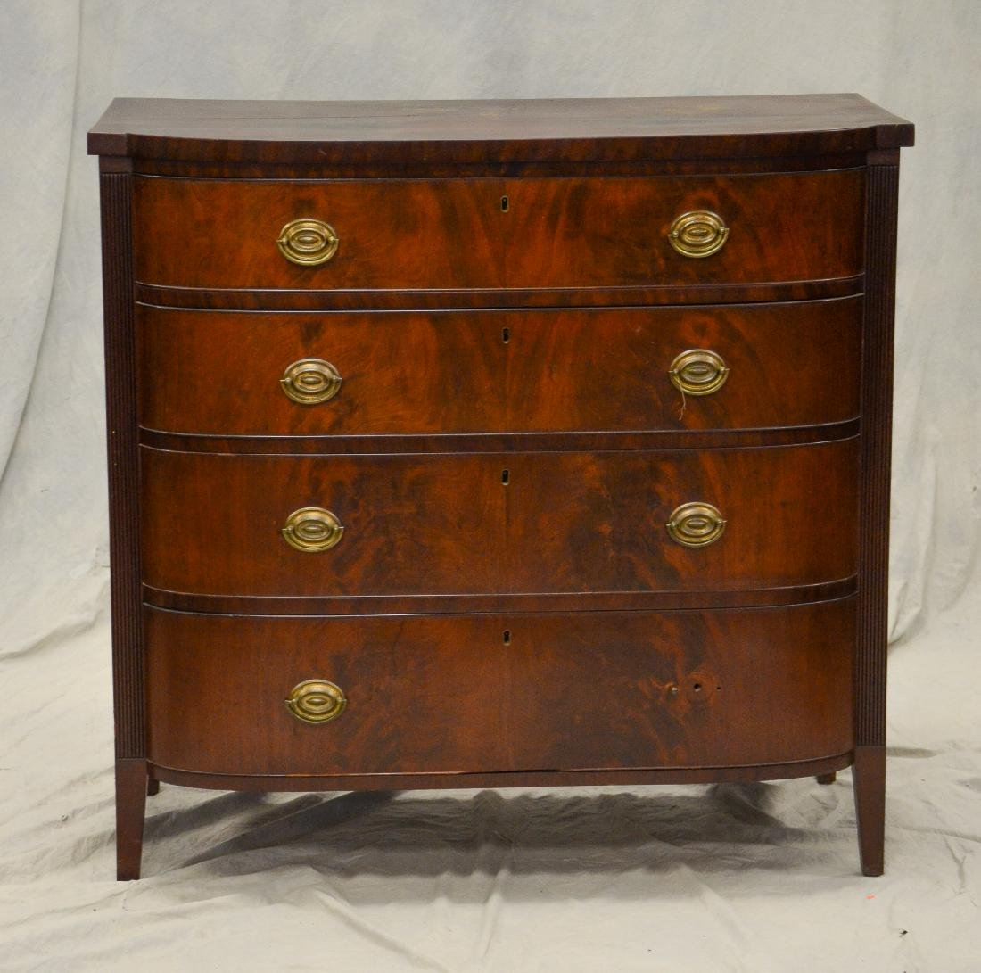 Federal 4 drawer mahogany bureau, c 1810-15, four be