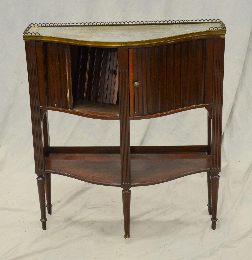 Regency tambour door marbletop side table, c 1820-30