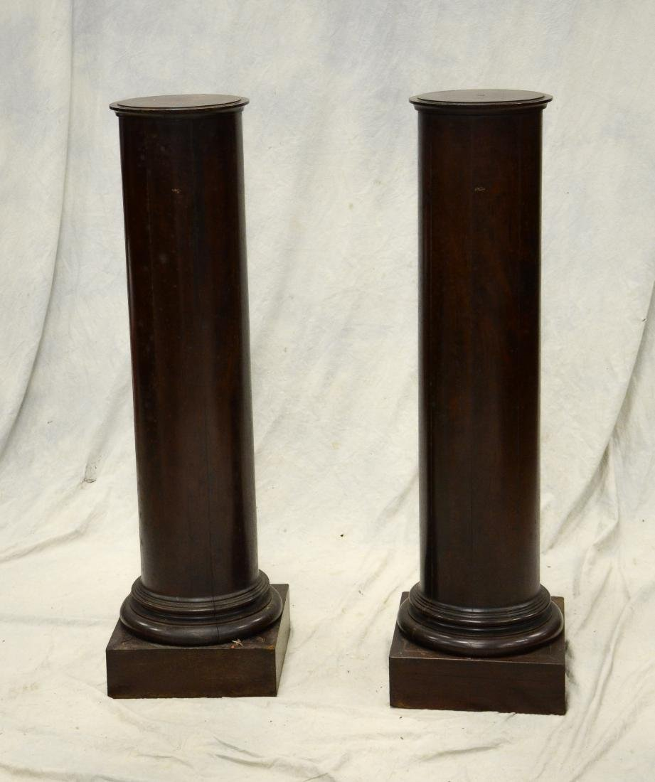 Pair classical mahogany column form pedestals, wear