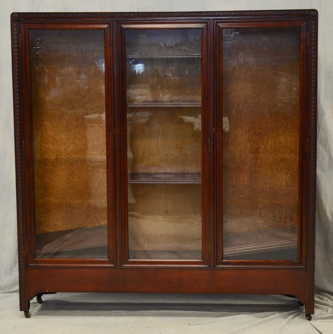 """Mahogany 3 door bookcase, c 1900, 62""""h x 62""""w x 13 1"""