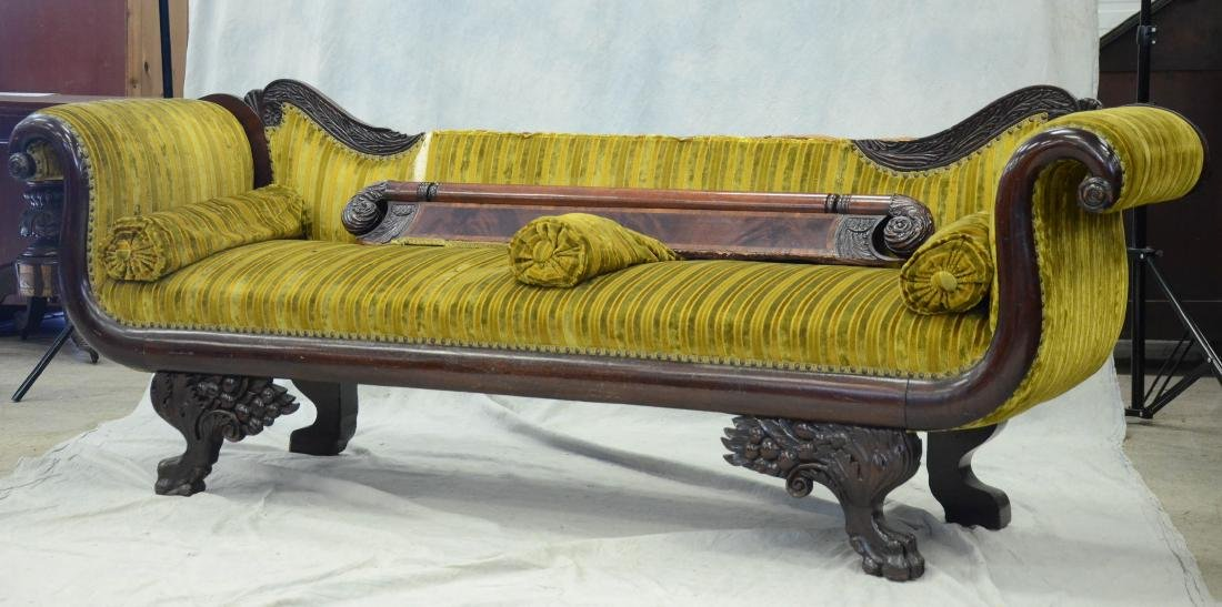 Carved mahogany Federal sofa, striped upholstery, 40