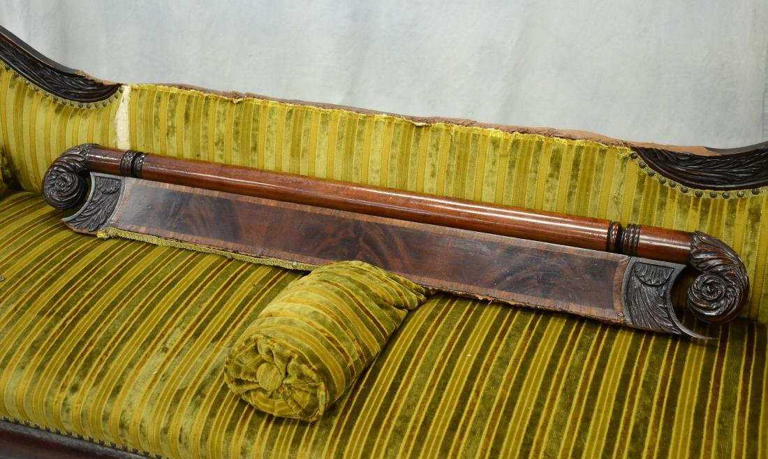 Carved mahogany Federal sofa, striped upholstery, 40 - 2