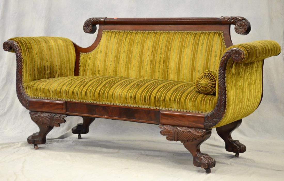 Carved mahogany Federal settee, striped upholstery,