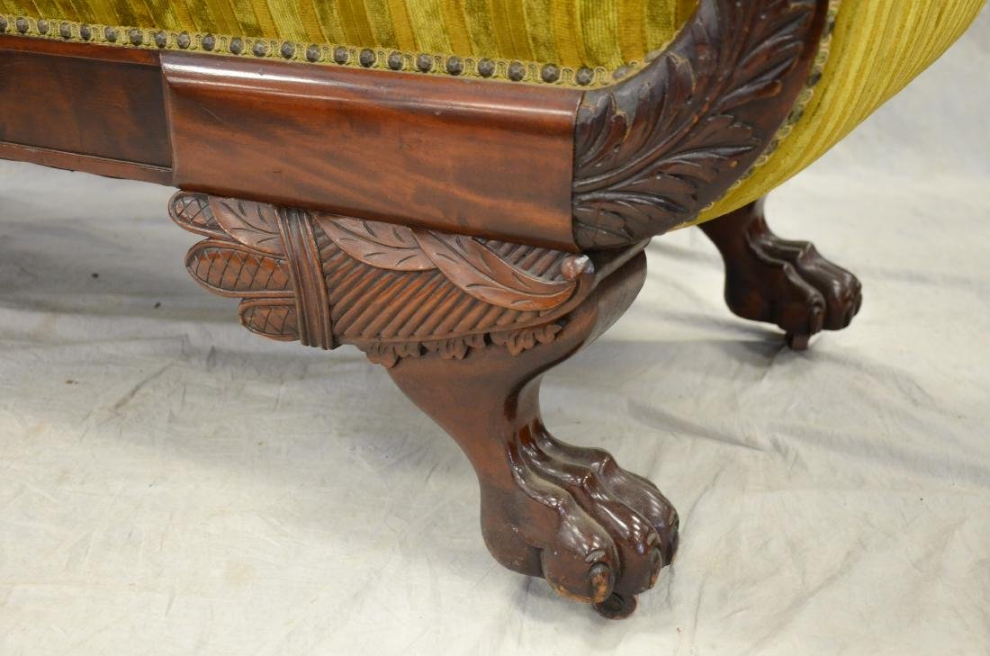 Carved mahogany Federal settee, striped upholstery, - 2