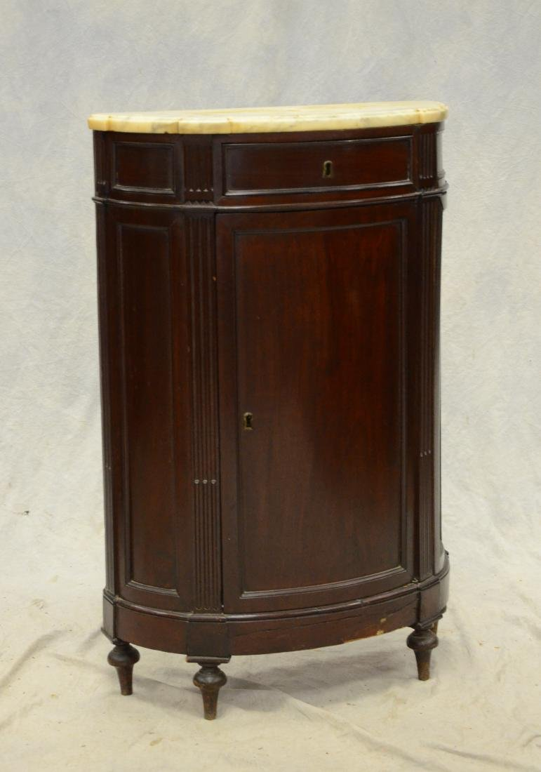 19th c mahogany marbletop one door demilune cabinet,