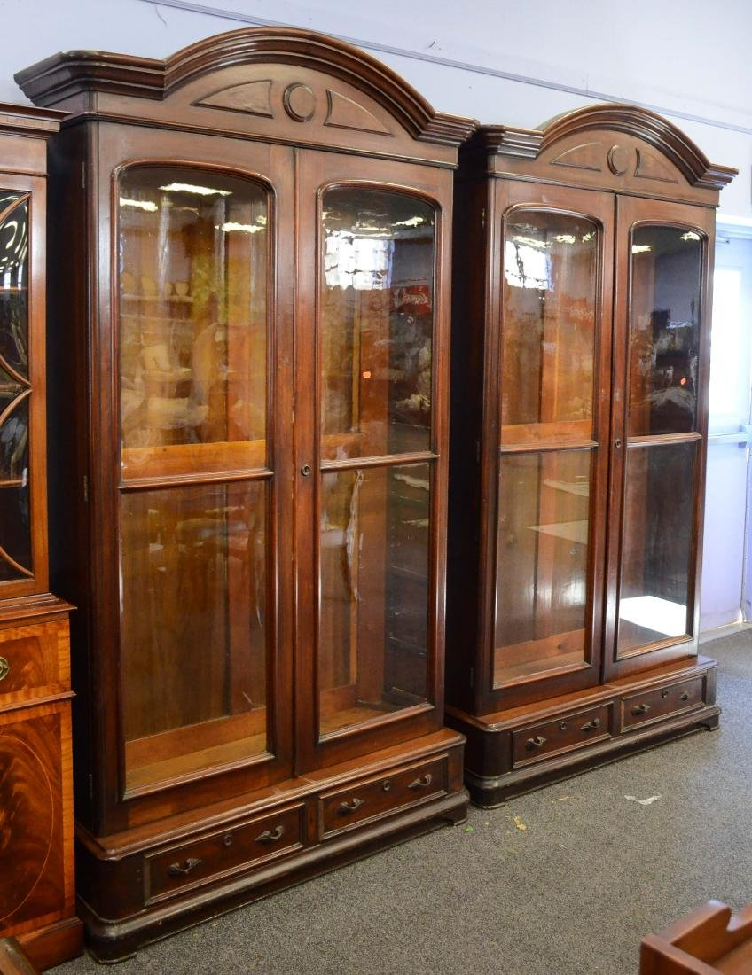 Pr walnut Victorian 2 door bookcases