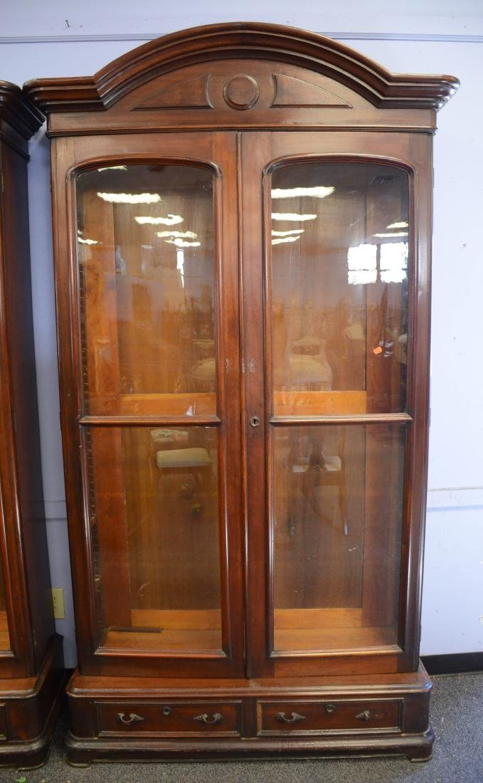 Pr walnut Victorian 2 door bookcases - 2