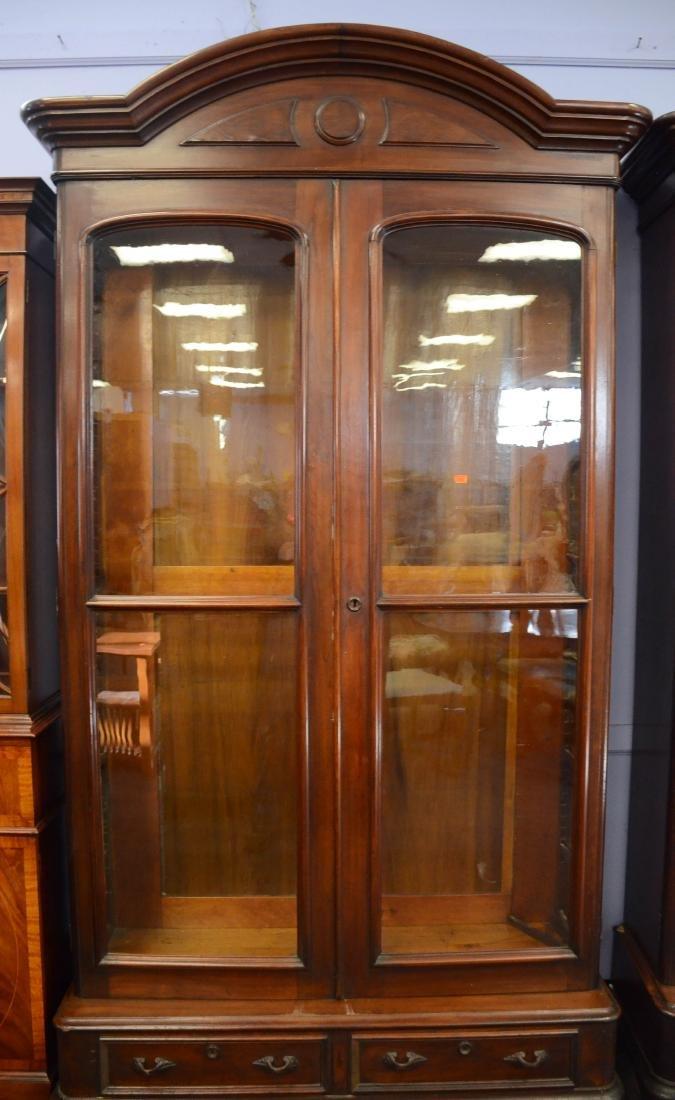 Pr walnut Victorian 2 door bookcases - 3