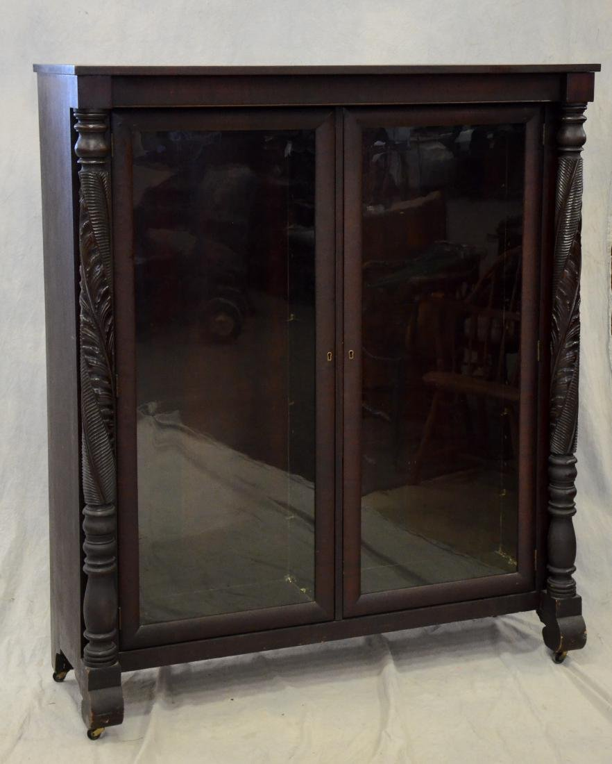 Carved mahogany Federal style 2 door bookcase
