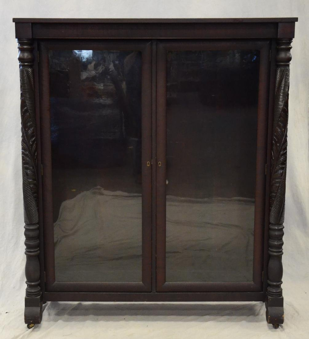 Carved mahogany Federal style 2 door bookcase - 2