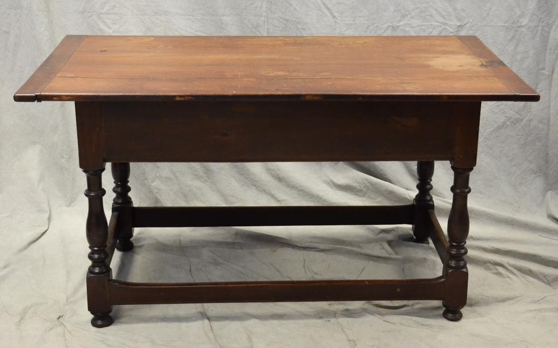 Walnut stretcher base 3 drawer tavern table, 1760-80