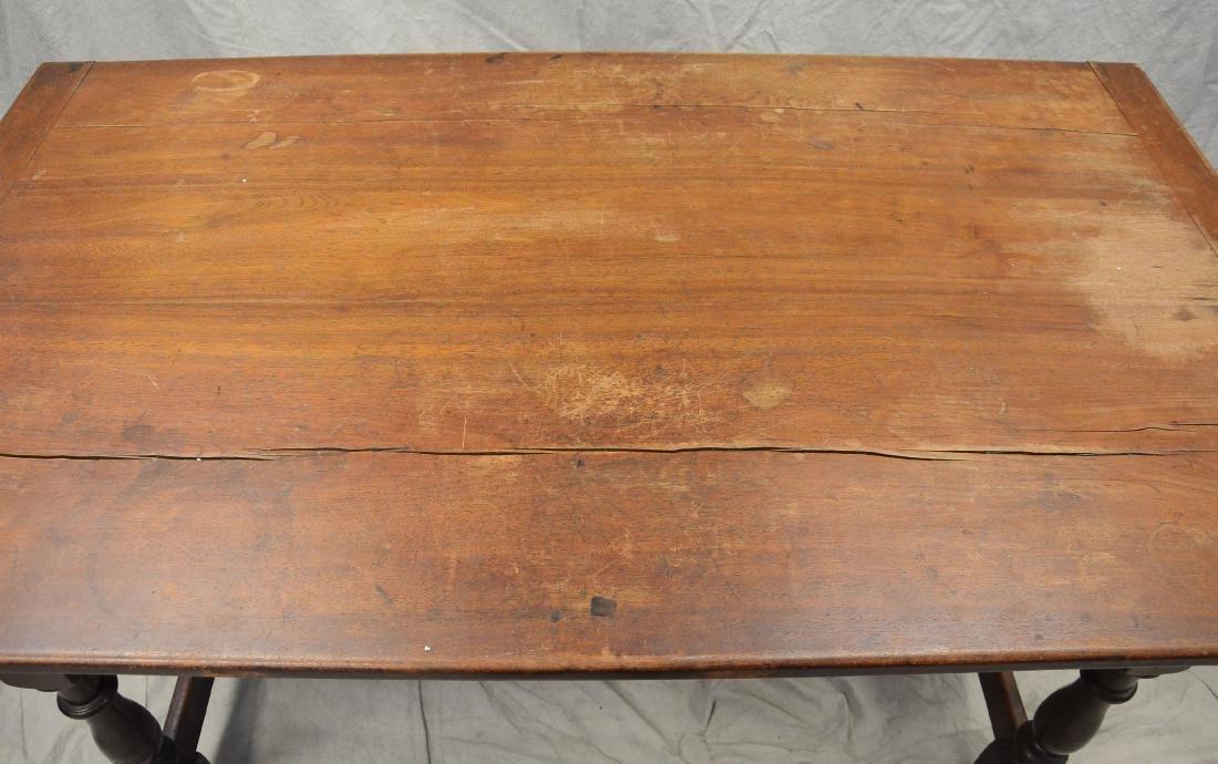 Walnut stretcher base 3 drawer tavern table, 1760-80 - 2