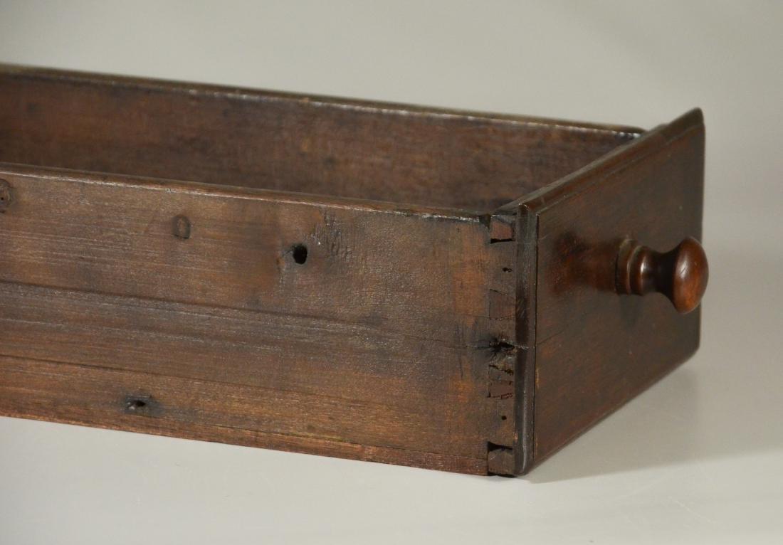 Walnut stretcher base 3 drawer tavern table, 1760-80 - 4