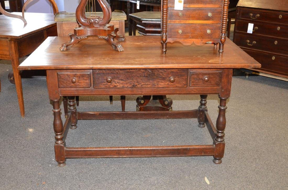 Walnut stretcher base 3 drawer tavern table, 1760-80 - 7
