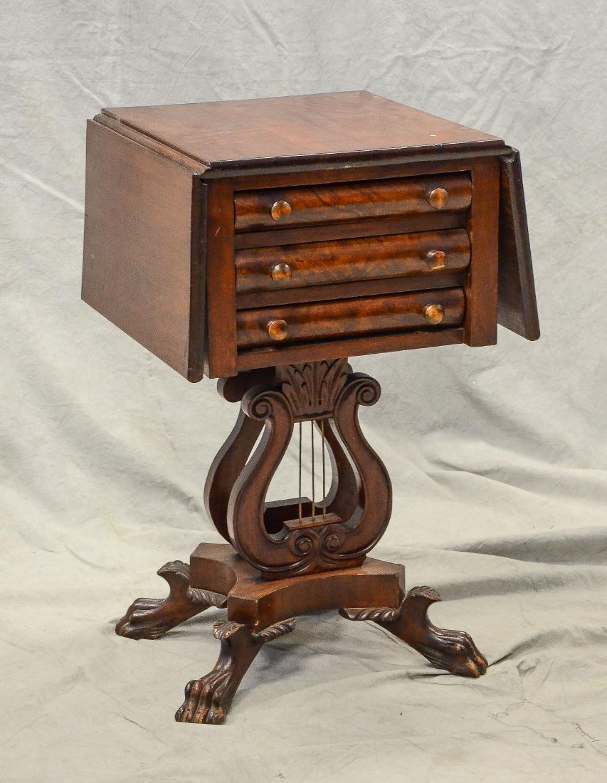 Mahogany Federal 3 drawer drop leaf work table