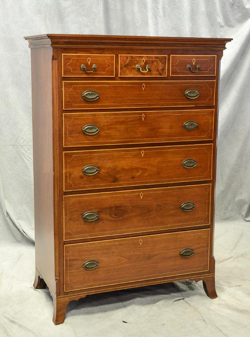 Walnut Hepplewhite 3 over 5 tall chest, c 1790-1810