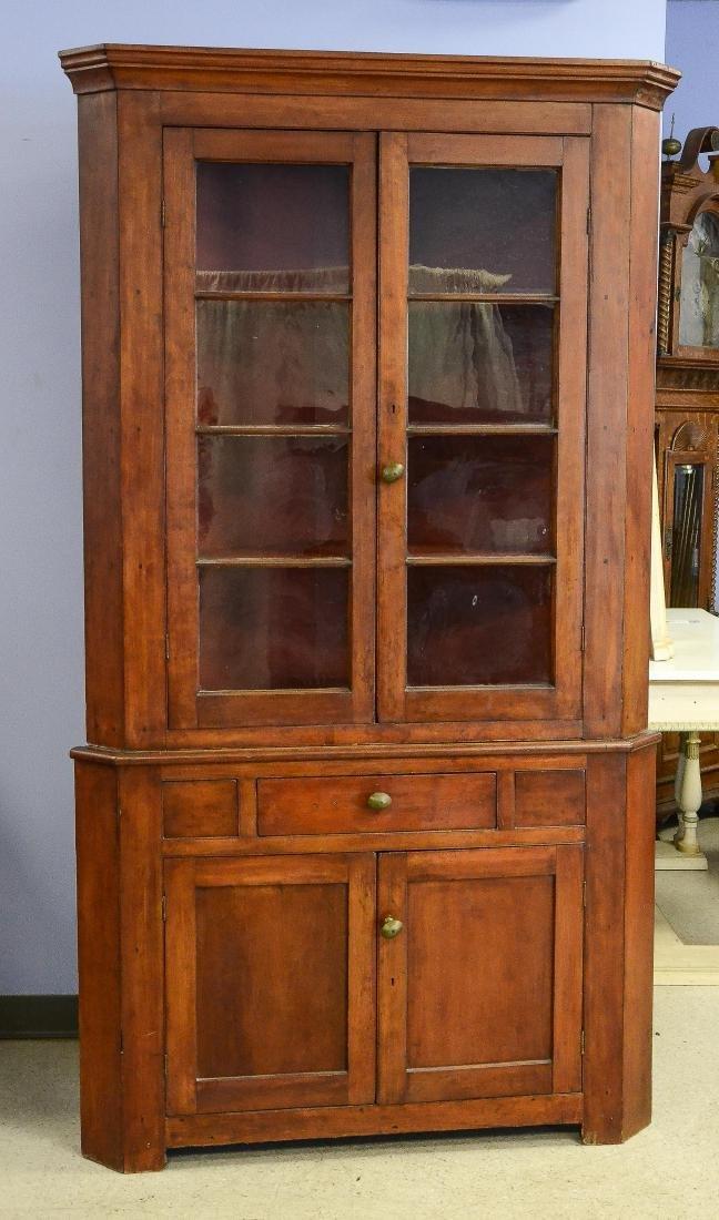 2 pc cherry 8-pane corner cupboard,