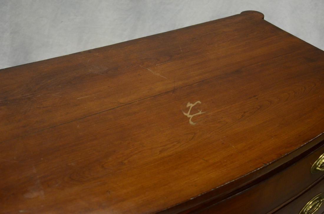 Mahogany NE Sheraton bowfront 4 drawer bureau - 2