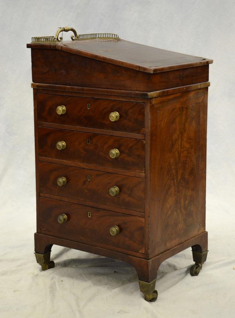 Mahogany Regency leathertop davenport desk, c 1830-5