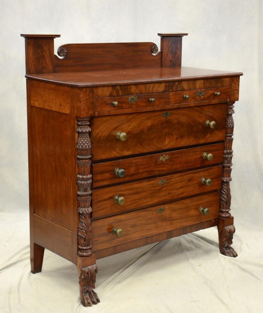 Carved mahogany American Federal 2/4 bureau, c 1820