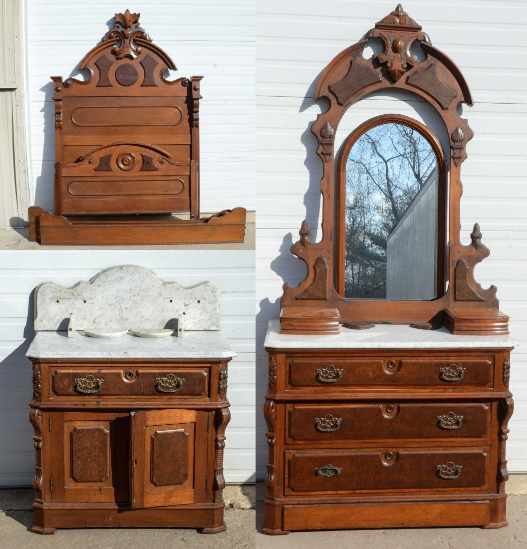 (3) pc walnut  Victorian MT bedroom set