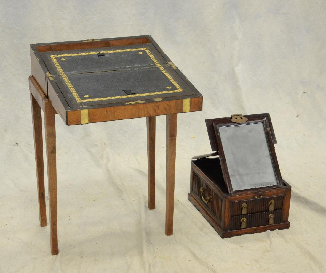 English lap desk on stand, & Asian traveling vanity - 2