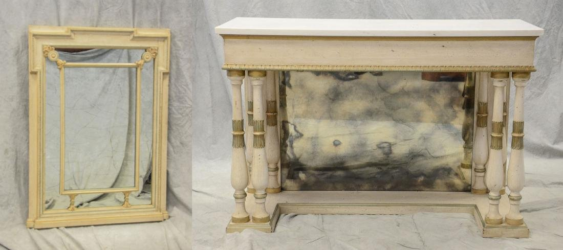 Regency style distressed painted pier table/mirror