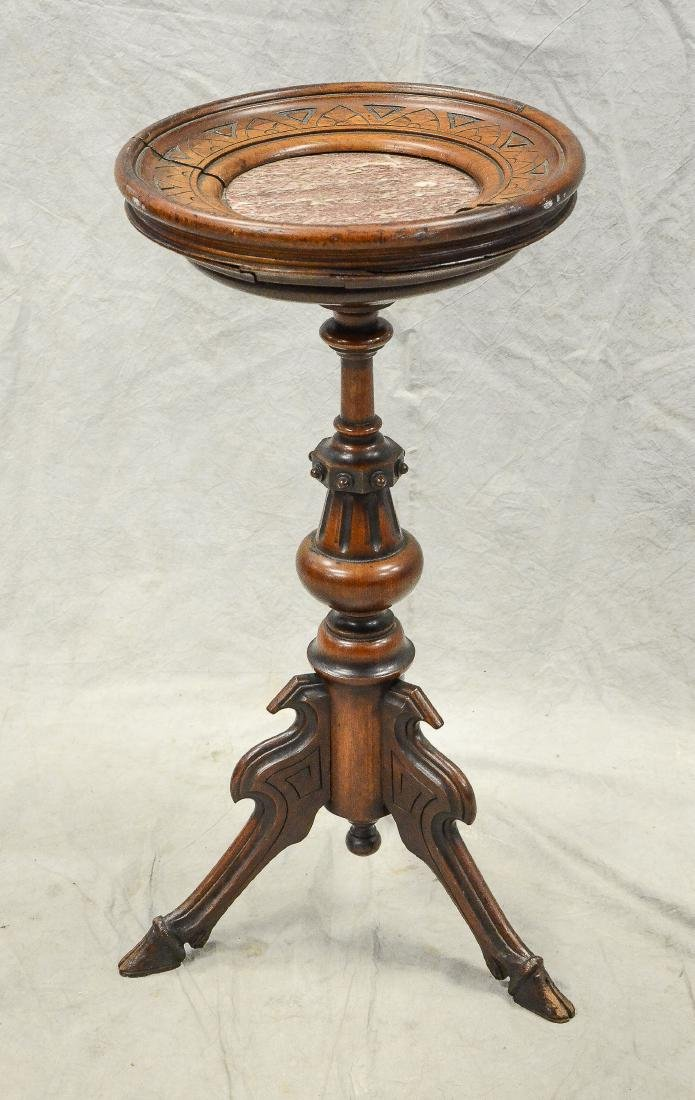 Victorian marbletop carved pedestal, hoof feet