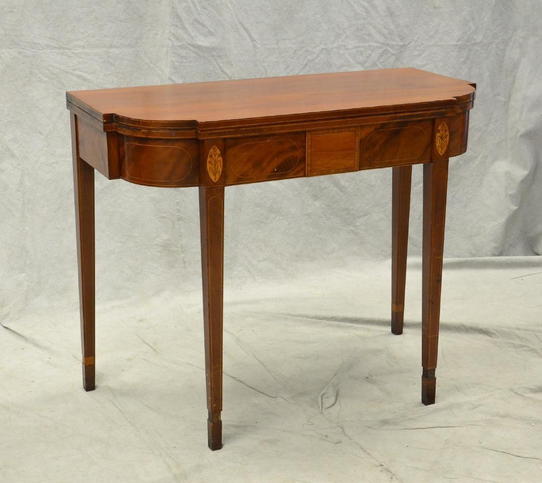 Hepplewhite inlaid mahogany game table,