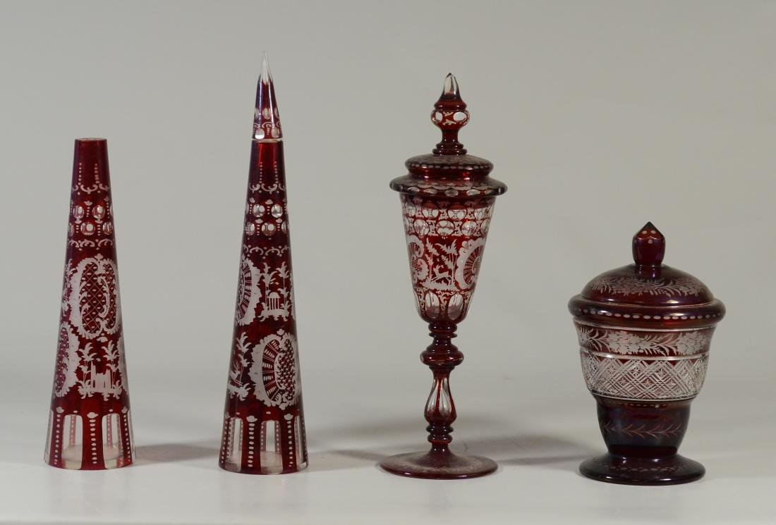 (4) assorted pcs of ruby cut-to-clear Bohemian glass