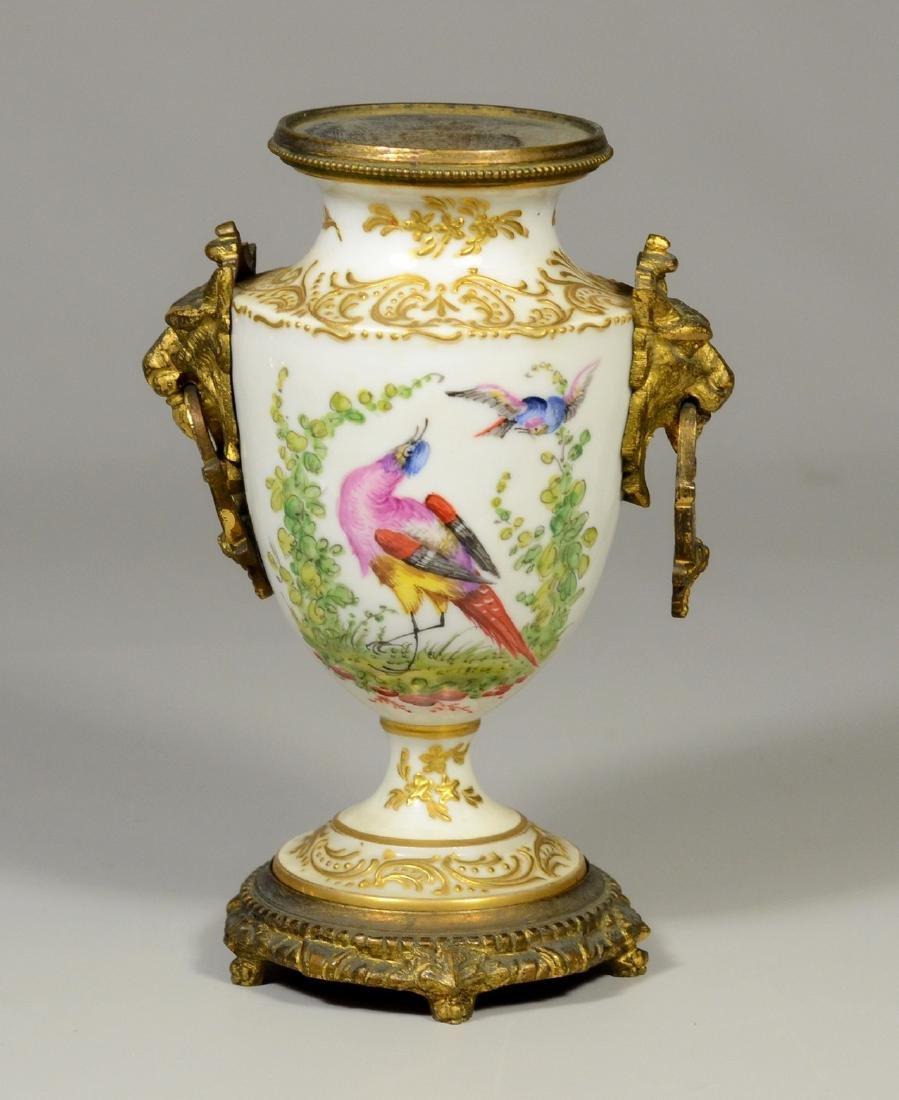 Sevres-style gilt bronze-mounted porcelain urn