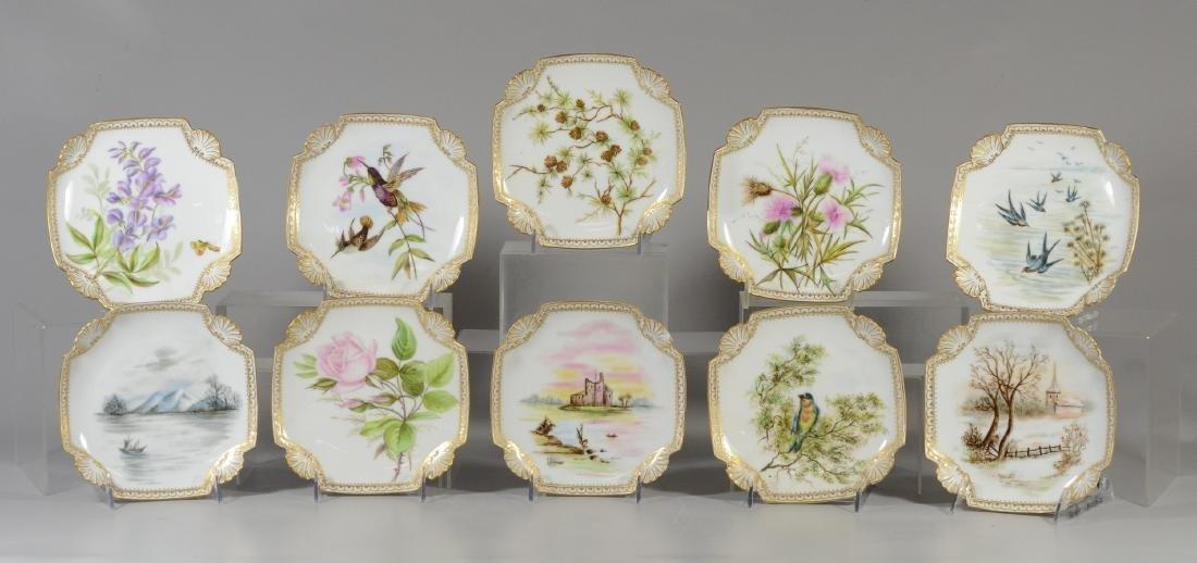 Set of 10 Limoges handpainted plates