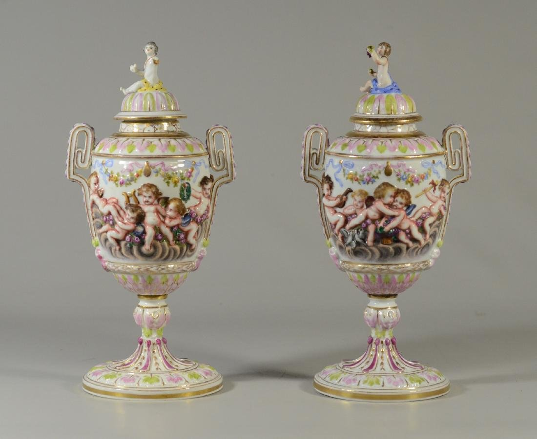 "Pr early Capodimonte 12-1/2"" covered urns"